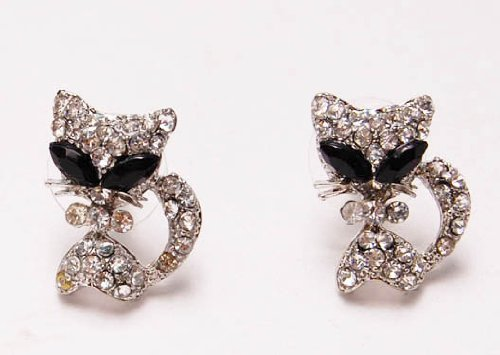 Cute Alien Eyes Cartoon Kitty Pussy Cat Clear Crystal Rhinestone Stud Earrings