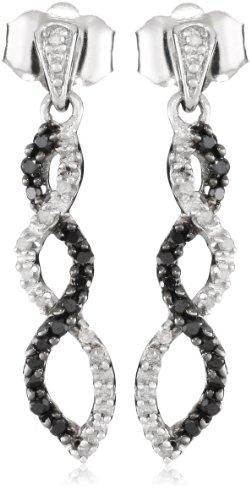 10k White Gold Black and White Diamond Infinity