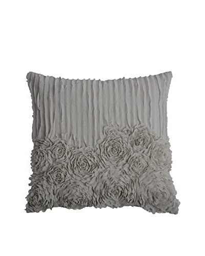 Rizzy Home Soft Grey Rose Blossom Throw Pillow