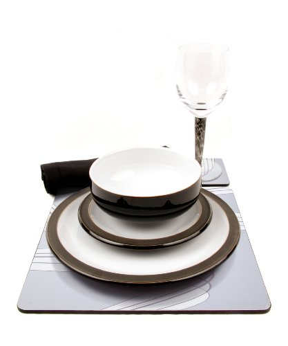 Denby Jet Black 28 Piece Ceramic, Glass and Accessories Tableware Set for 4 Place Settings