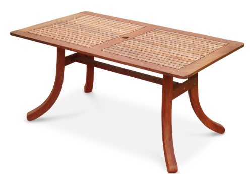 VIFAH V189 Outdoor Wood Rectangular Table with Curvy Legs, Natural Wood Finish, 59 by 36 by 29-Inch
