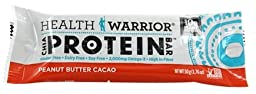 Health Warrior - Chia Protein Bar Peanut Butter Cacao - 1.76 oz. pack of 3