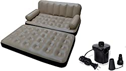 Evana 5 in 1 Air Sofa Cum Bed With Pump Lounge Couch Mattress Inflatable 3 seater Airsofa (Beige)
