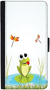 Snoogg Background With Frog Graphic Snap On Hard Back Leather + Pc Flip Cover...