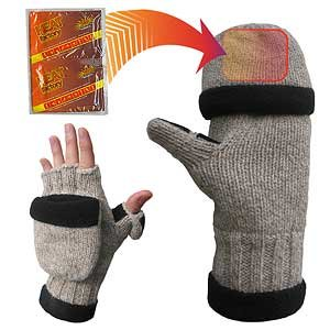 Heat Factory Men's Fold-Back Ragg Wool Gloves for use with Heat Factory Hand Warmers