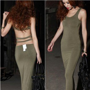 Women Summer U-Neck Sleeveless Backless Sexy Long Dress Skinny Cotton Vest Maxi Dress - Free Size (Army Green) front-920181