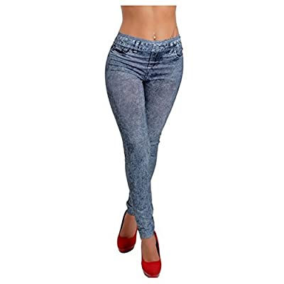 Hipster jeggings Women Stylish Lady's blue Denim Like Faux Jean Pants Leggings