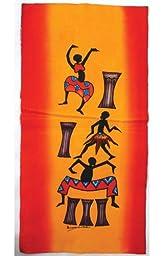 Small African Batik Painting - Drum Dancers 10\