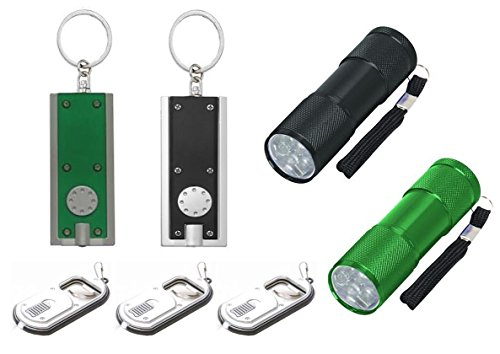 Flashlight LED Set: 2- 3½ Inch Nine LED Aluminum Flashlights, 2 Mini LED Flashlight Key Chain, 3 Bottle Opener/Flashlight Keychain (Bottle Opener Button compare prices)