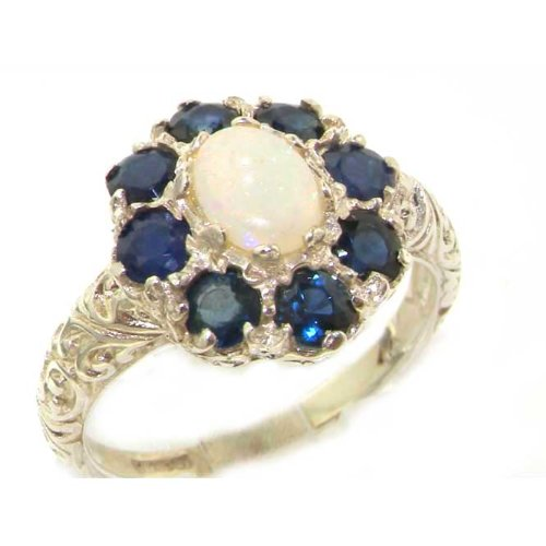 Solid English Sterling Silver Womens Large Opal & Sapphire Art Nouveau Ring - Size 12 - Finger Sizes 5 to 12 Available - Suitable as an Anniversary ring, Engagement ring, Eternity ring, or Promise ring