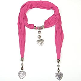 Women's Beautiful Jewellery Scarf with Heart Pendants and necklace accessories