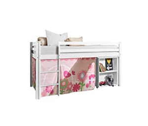 Cabin Bed with Desk in FLORAL Design & Mattress , WHITE Bed with Tent FLORAL WG+MATTRESS