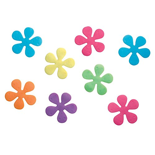InterDesign Floral Non-Slip Safety Treads for Shower, Bathtub - Set of 8, Rainbow