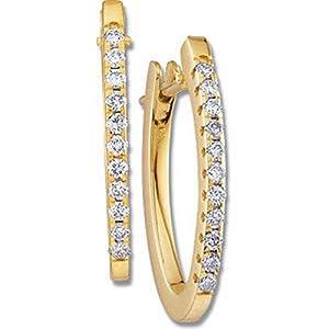 IceCarats Designer Jewelry 14K Yellow Gold 14K Yellow 1/3 Ctw Diamond Hoop Earrings.