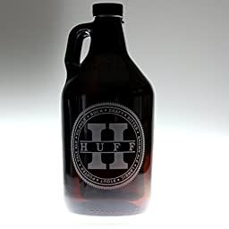 Personalized Growler Engraved with Beer Names Circled Around Large Initial Centered Last Name