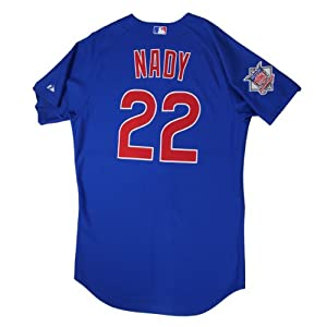 Xavier Nady #22 Chicago Cubs 2010 Opening Day Game Used Road Jersey (LH719514) (48) - Steiner Sports Certified