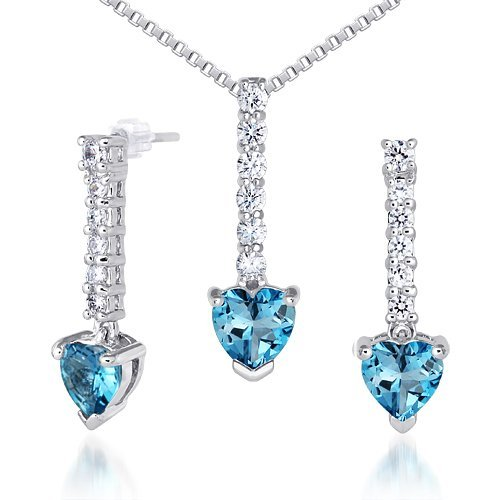 Peora Debonair Style 2.75 carats Heart Shape London Blue Topaz Pendant Earrings Set in Sterling Silver Rhodium Finish