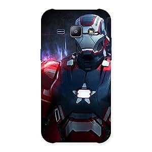 Premium Bluish Redish Man Back Case Cover for Galaxy J1