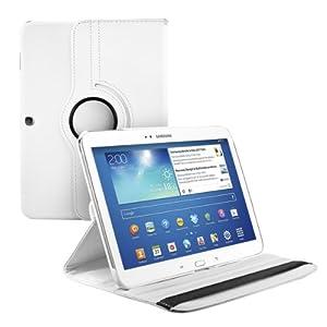 kwmobile® 360° Premium KUNSTLEDERTASCHE für Samsung Galaxy Tab 3 10.1 P5200 / P5210 / P5220 in Weiß mit praktischer Ständerfunktion und Auto Sleep / Wake Up Funktion