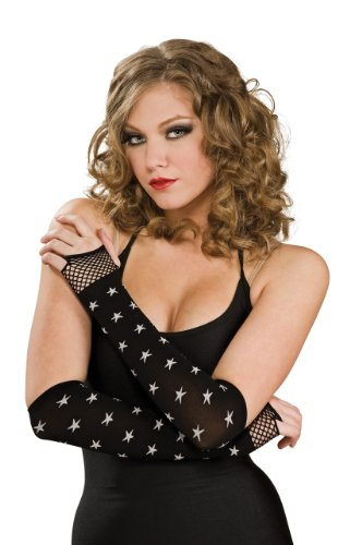 Rubie's Costume Fingerless Glove, Black/White Star, Black/White Star