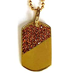 Hip Hop Iced Out Diamond Gold Dog Tag Pendant Chain Necklace (Gold Stones)