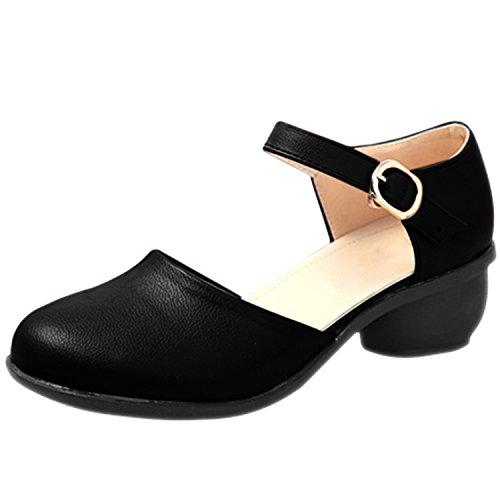 Oasap Femme Mode Bout Rond Chaussure Cheville Boucle Talons Bas