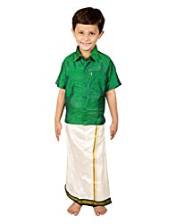 Thangamagan Baby Boy's Shirt/Dhoty Regular Fit (Green,Age : 2 to 3 Years)