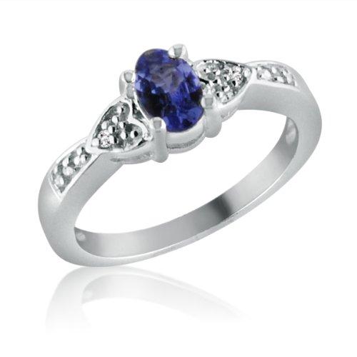 Sterling Silver Tanzanite and Diamond Ring (1/2ct tgw Sizes 5-9) sz 5 (Tanzanite Ring Size 6 compare prices)