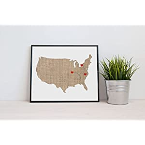America USA US Map Art - Natural Series wood, burlap, sand etc. Hometown Wall Art multiple cities and states