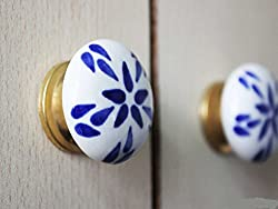 Set of 4 Pieces Blue Floral Design Ceramic Cabinet Door Handle Drawer Knob Wardrobe Pull Ideal for Home & Office Golden Fitting