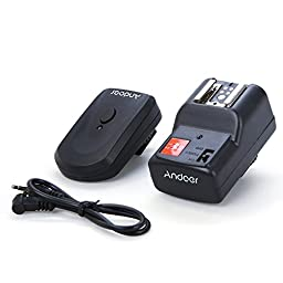 Andoer Wireless Remote Speedlite Flash Trigger Universal 4 Channels with 1 Receiver for Canon Nikon Pentax Olympus +PC Sync Cord(2.5mm to PC)