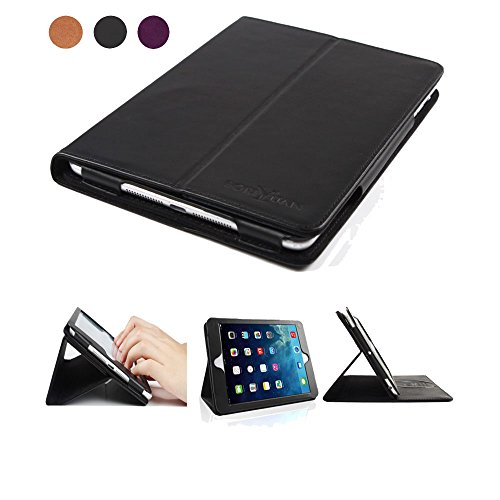 Boriyuan ipad mini 4本革ケース/本革カバー スマートケース カードポケット付き 横開き スタンド機能 オートスリープ iPad Mini4【第四世代】ケース 保護フィルム+タッチペン付き 全3色 (ipad mini 4ブラック)