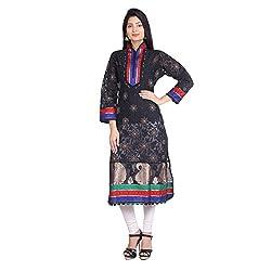 Indian Artizans Black Silk Noorie Kurta With Chikankari