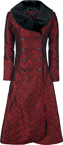 Gothicana by EMP Blood Red Brocade Coat Cappotto rosso/nero XS