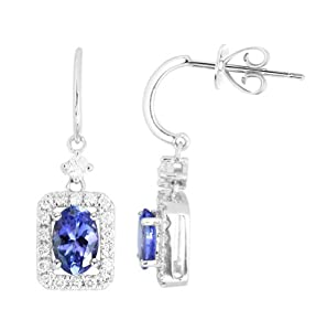 14K ExquisiteTanzanite Earrings with Diamonds (NEW ARRIVAL)