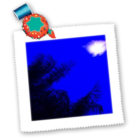 Qs_174426_1 Florene - Beach And Sunset Art - Image Of Sun In Electric Blue Sky With Palm Silhouette - Quilt Squares - 10X10 Inch Quilt Square