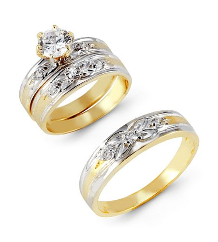 14k Two Tone Gold Cubic Zirconia Flower Wedding Rings
