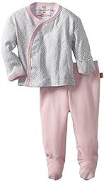 Magnificent Baby-Girls Newborn Long Sleeve Kimono Top And Pant Set, Mod Dots, Newborn