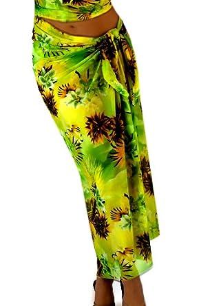 Hawaiian Green Mesh Long Pareo Wrap Sarong Ladies Swimwear