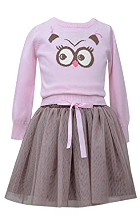 Bonnie Jean Little Girls' Owl Intarsia Sweater and Skirt Set: Clothing