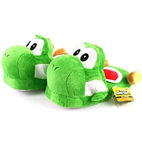 Green Yoshi Plush Slipper (Kids Size) one size fits all