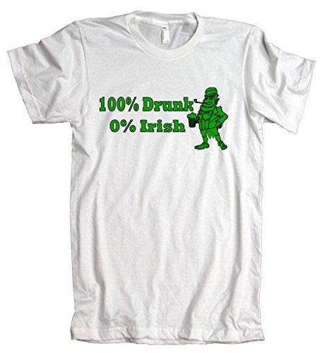 100% Drunk 0% Irish Funny Beer St. Patrick's Day American Apparel T-Shirt