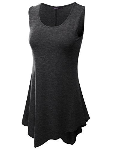 Doublju Womens sleeve sequined flores Charcoal Drapey Rib Sleeveless Long Top,M