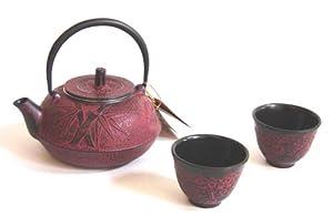 Japanese Cast Iron Tea Pot Set Burgundy Red Bamboo