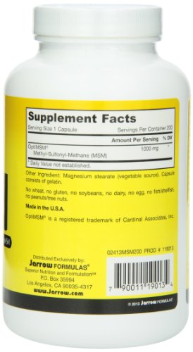 Jarrow Formulas MSM, Strengthens Joints, 1000 mg, 200 Caps