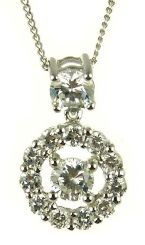 9ct White Gold Ladies' Cluster Cubic Zirconia Circle Pendant on 46cm Curb Chain