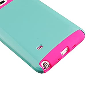 Galaxy Note 4 Case, Sophia Shop Non-Slip Perfect-Fit Hard Plastic Silicone Protective Case Rubber Bumper Slim Heavy Duty Dual Layer Cover For Samsung Galaxy Note 4 (Mint+Rose)