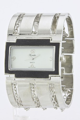 Baubles & Co Chain Cage Cuff Watch (Silver/White)
