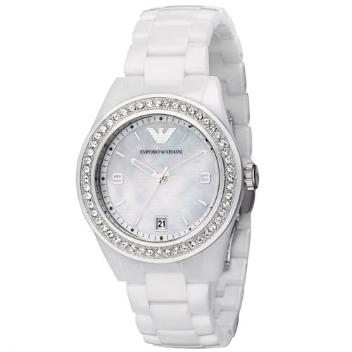 Emporio Armani White Ceramic Ladies Watch AR1426 Wrist Watch (Wristwatch)
