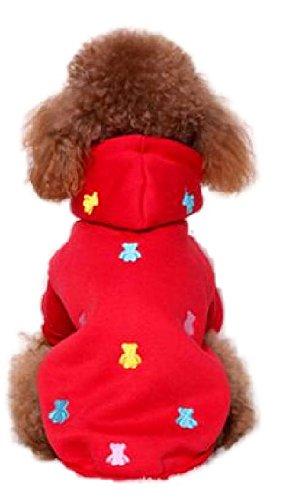 犬 服 冬用 暖かいパーカーコート ペット服 ドッグウェア (レッド(M))